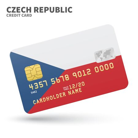 czech republic flag: Credit card with Czech Republic flag background for bank, presentations and business. Isolated on white background vector illustration.