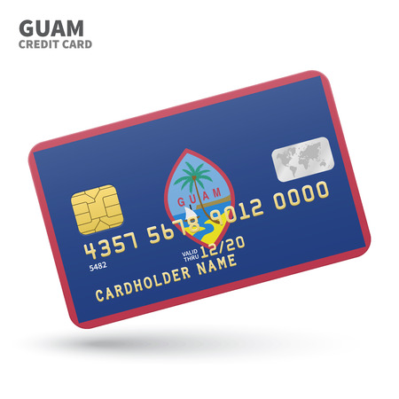 guam: Credit card with Guam flag background for bank, presentations and business. Isolated on white background vector illustration. Illustration