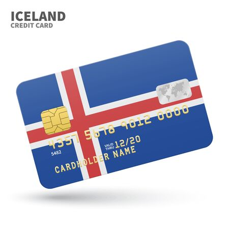 iceland flag: Credit card with Iceland flag background for bank, presentations and business. Isolated on white background vector illustration.