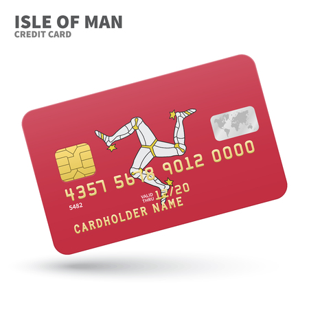 smart man: Credit card with Isle of Man flag background for bank, presentations and business. Isolated on white background vector illustration. Illustration
