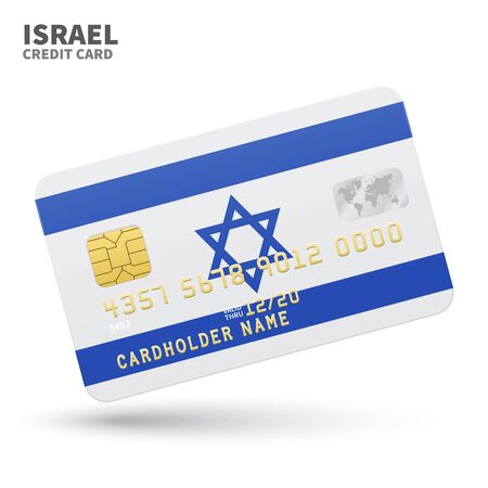 western asia: Credit card with Israel flag background for bank, presentations and business. Isolated on white background vector illustration.