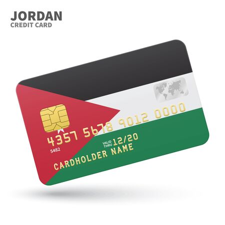 western asia: Credit card with Jordan flag background for bank, presentations and business. Isolated on white background vector illustration.