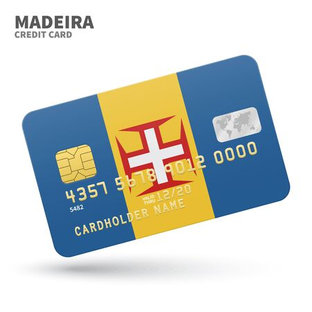 madeira: Credit card with Madeira flag background for bank, presentations and business. Isolated on white background vector illustration.