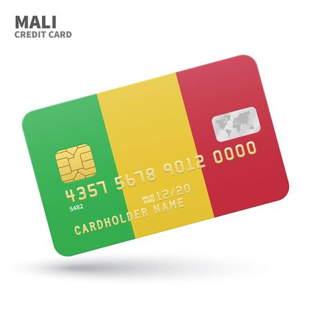 bamako: Credit card with Mali flag background for bank, presentations and business. Isolated on white background vector illustration.