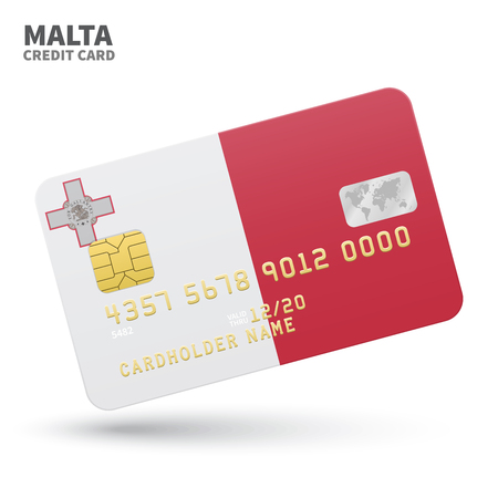 Credit card with Malta flag background for bank, presentations and business. Isolated on white background vector illustration.