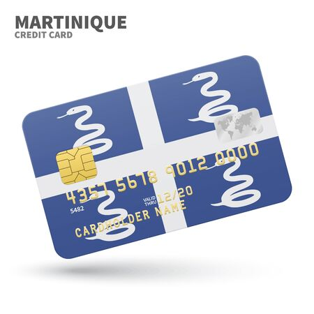 martinique: Credit card with Martinique flag background for bank, presentations and business. Isolated on white background vector illustration.
