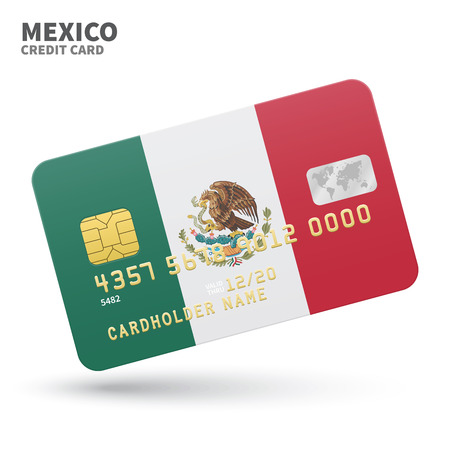 middle america: Credit card with Mexico flag background for bank, presentations and business. Isolated on white background vector illustration.
