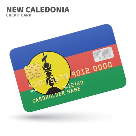 new caledonia: Credit card with New Caledonia flag background for bank, presentations and business. Isolated on white background vector illustration.