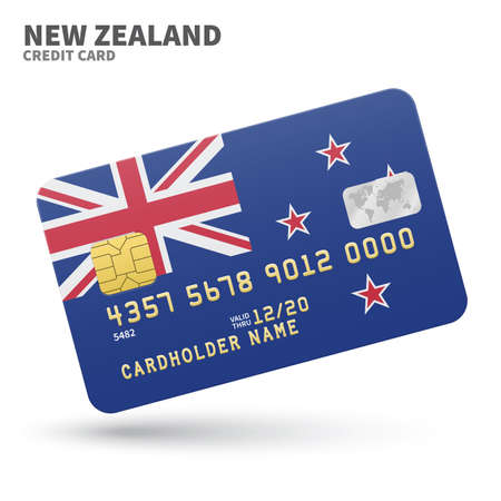 new zealand flag: Credit card with New Zealand flag background for bank, presentations and business. Isolated on white background vector illustration. Illustration