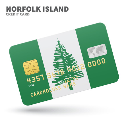 kingston: Credit card with Norfolk Island flag background for bank, presentations and business. Isolated on white background vector illustration.