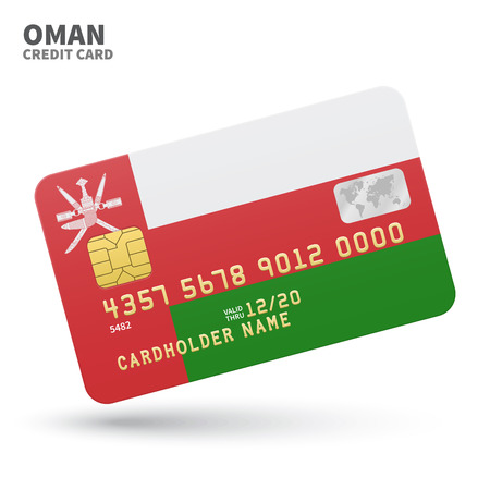 western asia: Credit card with Oman flag background for bank, presentations and business. Isolated on white background vector illustration. Illustration