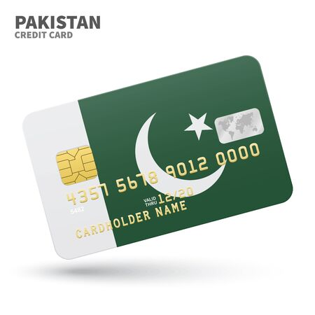 islamabad: Credit card with Pakistan flag background for bank, presentations and business. Isolated on white background vector illustration.