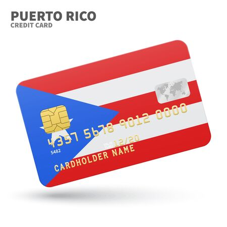 Credit card with Puerto Rico flag background for bank, presentations and business. Isolated on white background vector illustration.