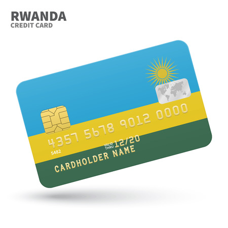 kigali: Credit card with Rwanda flag background for bank, presentations and business. Isolated on white background vector illustration. Illustration