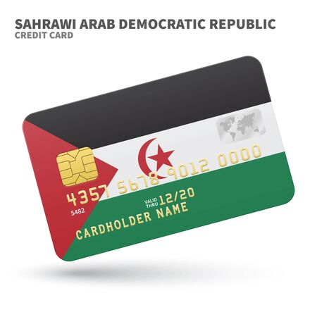 sahrawi arab democratic republic: Credit card with Sahrawi Arab Democratic Republic flag background for bank, presentations and business. Isolated on white background vector illustration.