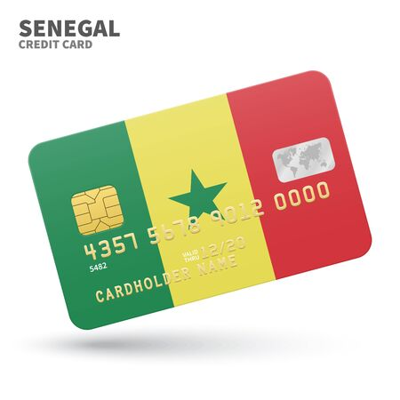 dakar: Credit card with Senegal flag background for bank, presentations and business. Isolated on white background vector illustration.