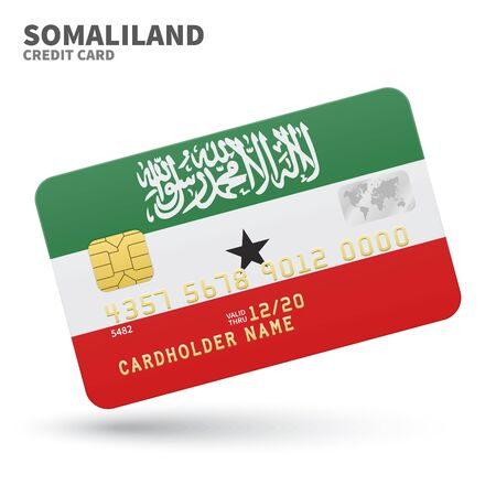 somaliland: Credit card with Somaliland flag background for bank, presentations and business. Isolated on white background vector illustration.