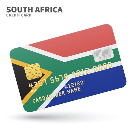 south africa flag: Credit card with South Africa flag background for bank, presentations and business. Isolated on white background vector illustration.