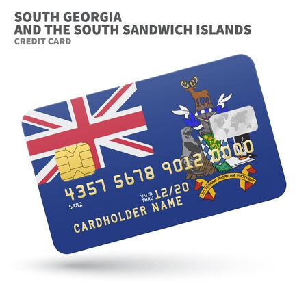 sandwich white background: Credit card with South Georgia and the South Sandwich Islands flag background for bank, presentations and business. Isolated on white background vector illustration.