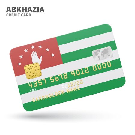 sukhumi: Credit card with Abkhazia flag background for bank, presentations and business. Isolated on white background vector illustration.