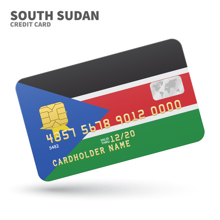 south sudan: Credit card with South Sudan flag background for bank, presentations and business. Isolated on white background vector illustration.
