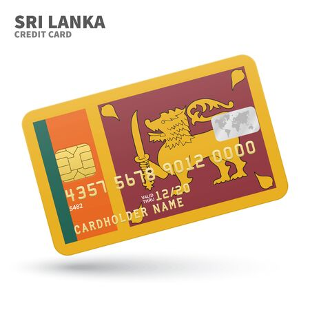sri lanka flag: Credit card with Sri Lanka flag background for bank, presentations and business. Isolated on white background vector illustration.