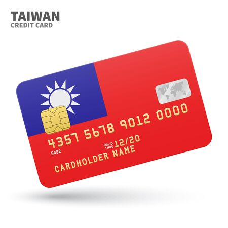 identity card: Credit card with Taiwan flag background for bank, presentations and business. Isolated on white background vector illustration.