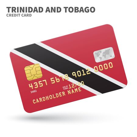 port of spain: Credit card with Trinidad and Tobago flag background for bank, presentations and business. Isolated on white background vector illustration.