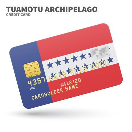 archipelago: Credit card with Tuamotu Archipelago flag background for bank, presentations and business. Isolated on white background vector illustration.