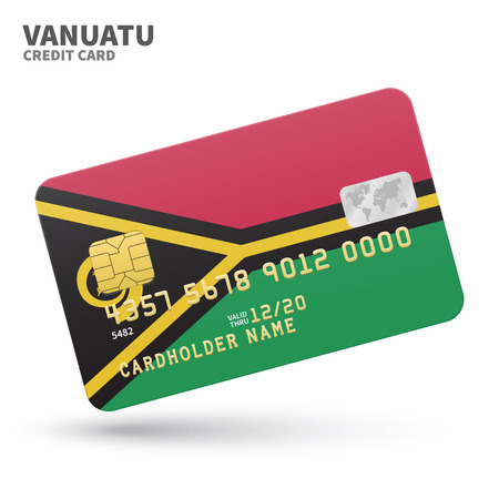 vanuatu: Credit card with Vanuatu flag background for bank, presentations and business. Isolated on white background vector illustration.
