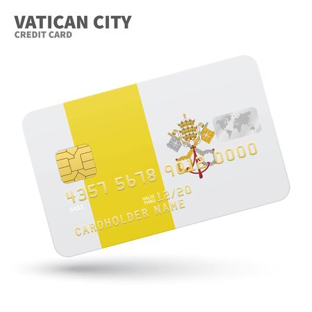 vatican city: Credit card with Vatican City flag background for bank, presentations and business. Isolated on white background vector illustration.