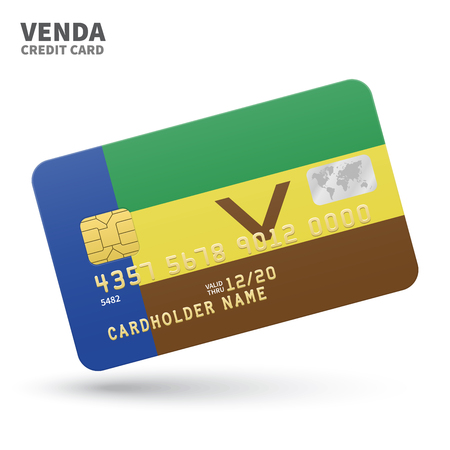 Credit card with Venda flag background for bank, presentations and business. Isolated on white background vector illustration.