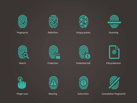 dactylogram: Fingerprint and thumbprint icons. Vector illustration.