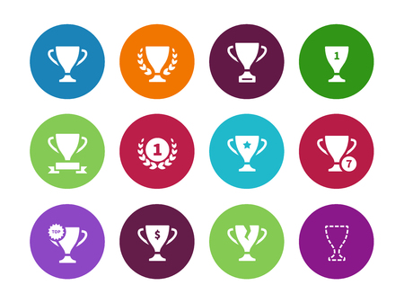 Trophy cup circle icons on white background. Vector illustration. Illustration