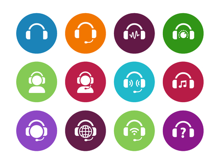 dj headphones: Headset circle icons on white background. Vector illustration. Illustration