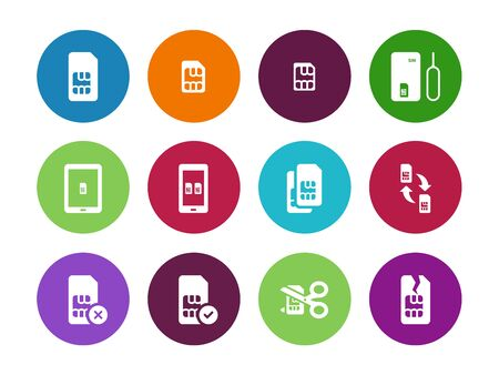 lte: Internet 3G and 4G, lte SIM card circle icons on white background. Vector illustration.