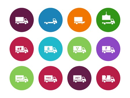 loading truck: Truck circle icons on white background. Vector illustration.