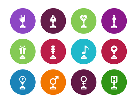 bard: Trophy cup circle icons on white background. Vector illustration. Illustration