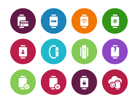 smart card: Credit card in smart watches circle icons on white background. Vector illustration. Illustration