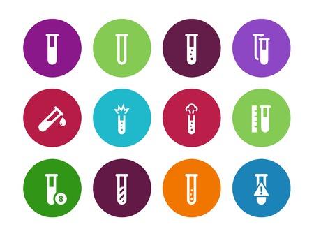 Microbiology equipment test tube circle icons on white background. Vector illustration. Illustration