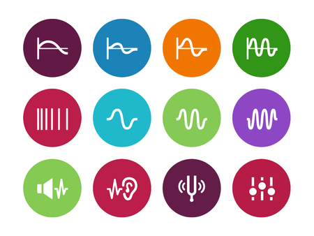 high volume: Music waves circle icons on white background. Vector illustration.