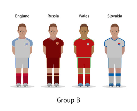 group b: Football championship in France 2016. National soccer players kit Group B - England, Russia, Wales, Slovakia. Vector illustration.