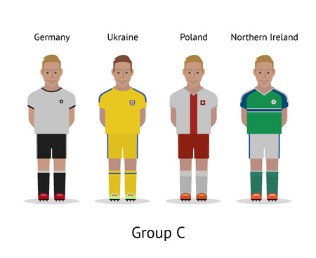 Football championship in France 2016. National soccer players kit Group C - Germany, Ukraine, Poland, Northern Ireland. Vector illustration.