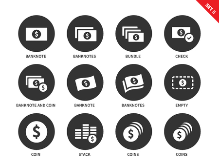 financial position: Money and cash vector icons set. Banknotes and coins for commerce and business. Dollars and cents. Isolated on white background Illustration