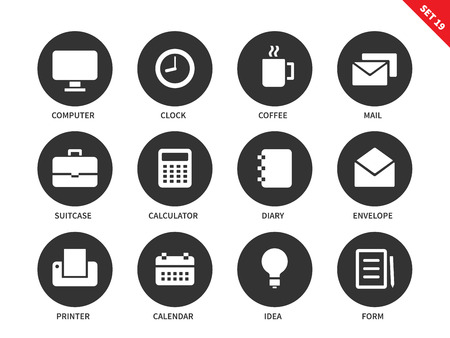 calendar isolated: Business vector icons set. Marketing and management tools, office equipment, computer, clock, coffee, mail, suitcase, calculator, diary, envelope, printer and calendar. Isolated on white background Illustration