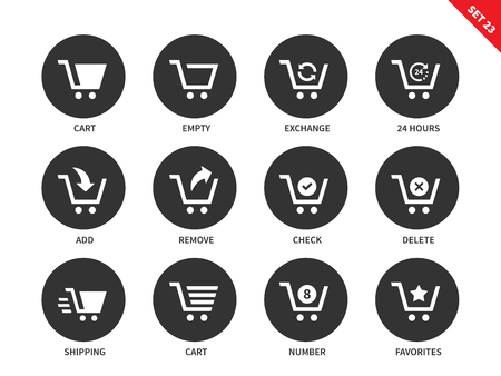 shopping centre: Shopping carts vector icons set. Consumerism concept. Items for shopping centre advertising, empty cart, delete, remove, number and other signs. Isolated on white background Illustration