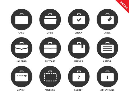 whithe: Suitcases and bags vector icons set. Business and management concept, cases for businessmen, labels, handbag, zipper, open and secret bag. Isolated on whithe background