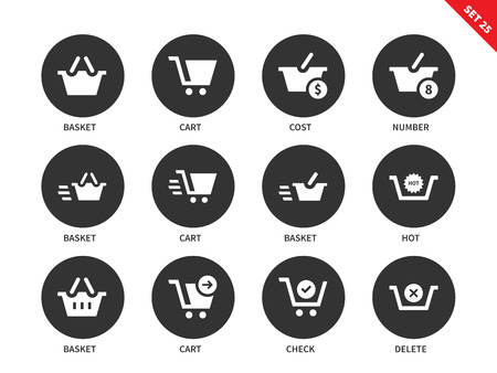 verification: Checkout and verification vector icons set. Shopping and consumerism concept, carts and baskets with signs of price, cost and nimber. Isolated on white background Illustration