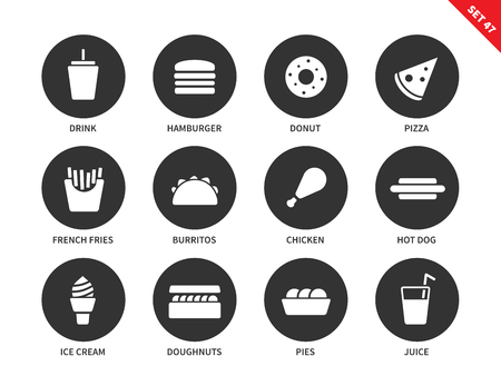 food and drink: Fast food vector icons set. Eating and nutrition concept. Junk food items, hamburger, donut, pizza, fries, burritos, chicken, hotdog, ica cream, juice. Isolated on white background.