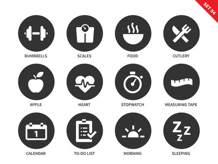 measuring tape: Fitness vector icons set. Sport and exercising consept. Healthy lifestyle items, dumbbells, food, apple, heart, calendar, sleeping, scales, measuring tape. Isolated on white background